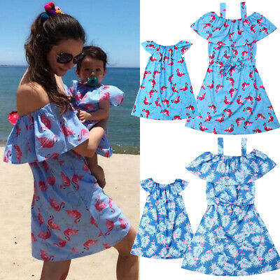 Family Matching Clothes Women Girls Mother and Daughter Flamingo Dress Outfit US - Flamingo Girls