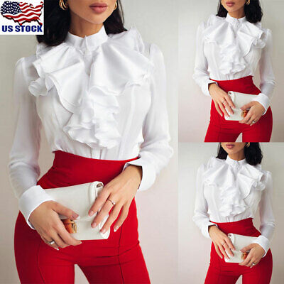 Women Victorian Ruffle Chiffon Shirt Ruffle Casual Long Sleeve Loose Top -