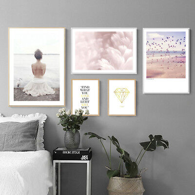 Nordic Girl Feather Abstract Wall Art Canvas Poster Print Nordic Decoration](Feather Wall Art)