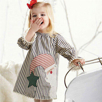 Toddler Kids Girls Christmas Santa Striped Princess Dress Outfits Clothes 1-5T](Kids Santa Dress)