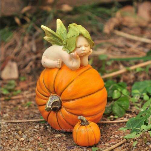 Fairy Garden Sleeping Baby Fairy Figurine on Pumpkin Top Land Trading New in Box