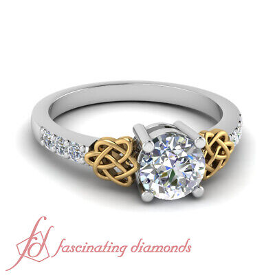 1.10 Ct Round Cut SI1-H Color Diamond Engagement Ring Pave Set 14K GIA Certified