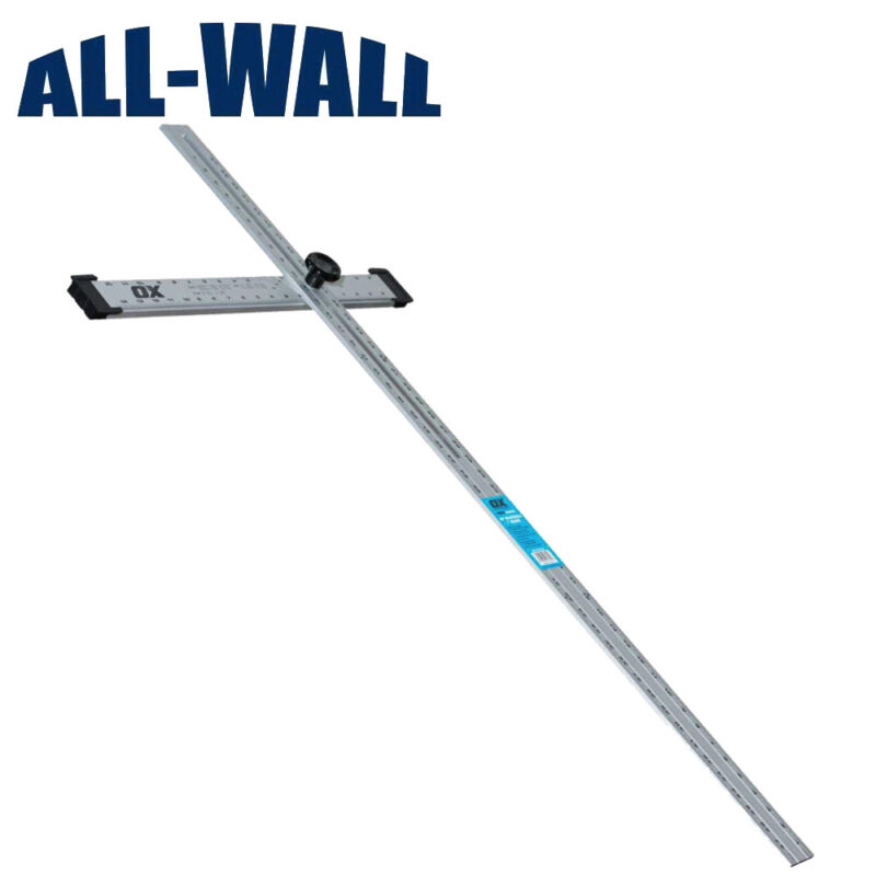 """Ox Pro 48"""" Adjustable Drywall T-Square - Foldable, Adjusts to Any Angle"""