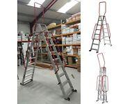 Abru 10 Steps 3m Mobile Double Sided Aluminum Platform Warehouse Picking Ladders