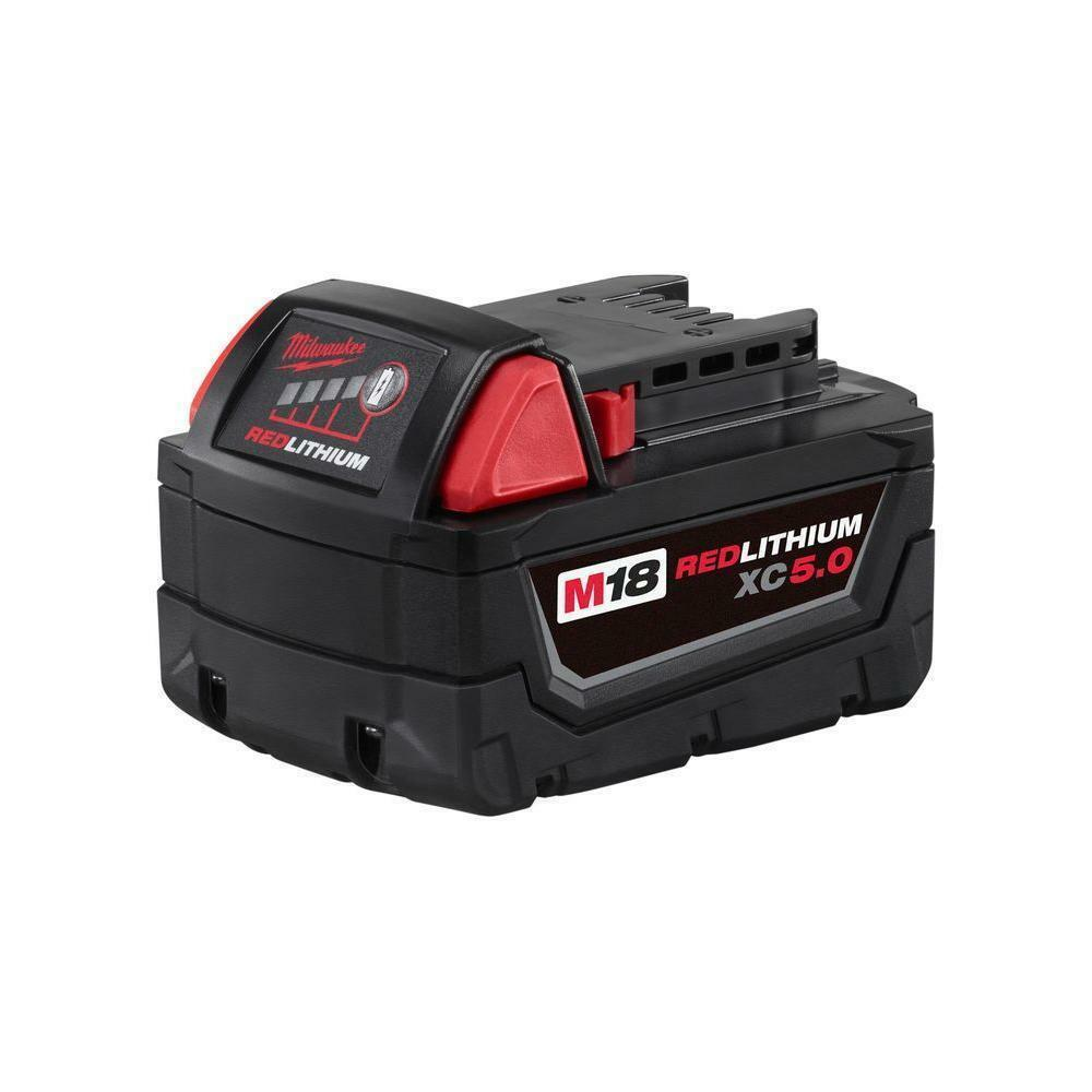 2 New Milwaukee M18 XC 5.0 Ah Batteries 48-11-1850 & 1 Charger 48-59-1812 2