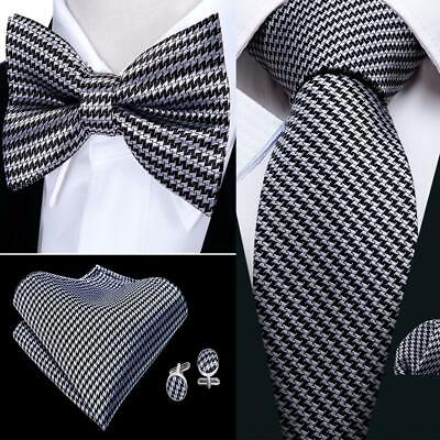 Houndstooth Bow Tie (USA Grey Houndstooth Tie Bowtie Set Silk Mens Adjustable Tuxedo Pre-tied)