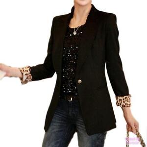 Work Womens Vintage Boyfriend Fitted Ladies Business Leopard Blazer Jacket Top