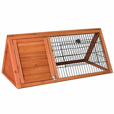 Pet Rabbit Hutch Triangle Wooden Cage Guinea Pig Bunny Run Animal House Home