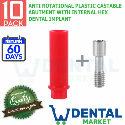 X 10 Anti Rotational Plastic Castable Abutment With Internal Hex Dental Implant