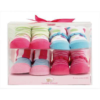 LUVABLE FRIENDS 4  x Cotton Girl Baby Novelty Socks Gift Box 0-9 Mths BRAND NEW