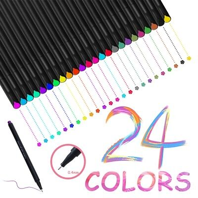 24 Fineliner Colors Drawing Painting Sketch Artist Manga Markers Pens Set 0.4mm (Artist Pens)