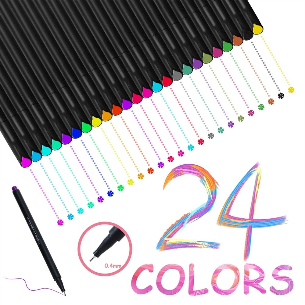 24 Fineliner Colors Drawing Painting Sketch Artist Manga Mar