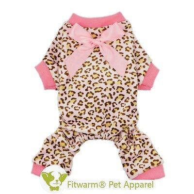 Fitwarm Leopard Dog Pink Pajamas Fleece Pet Clothes Dog Coat for Girl Jumpsuit