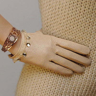 Ladies Leather Driving Gloves - Ladies Woman Genuine Nappa Leather&Lace Perforated Driving Gloves On Sale #L006