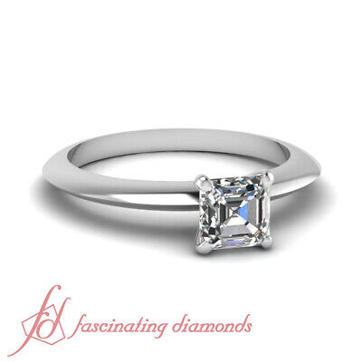 1/2 Ct Asscher Cut Diamond Knife Edge Solitaire Engagement Ring VVS2-E Color GIA