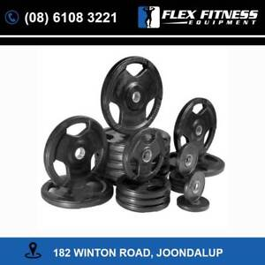 100KG Rubber Olympic Plates Package **Free Barbell Collars**
