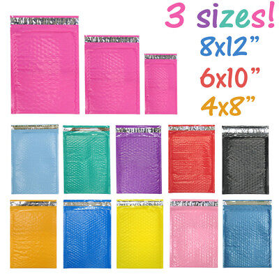 Assorted Sizes 8.5x12 6x9 4x8 Colored Poly Bubble Mailers Padded Envelopes