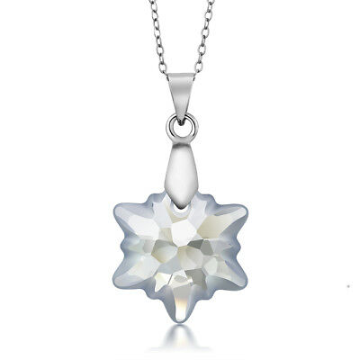 (Blue Shade Snowflake Edelweiss Flower Pendant Made with Swarovski® Crystals)