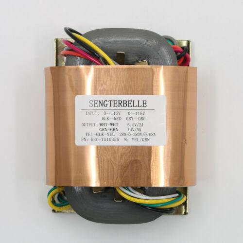 1PC 100W Pure Copper R-Core Transformer Dual 280V +14V +6.5V For Tube Preamp