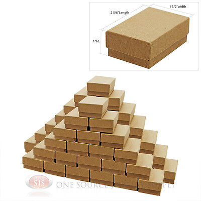 """50 Brown Kraft Cotton Filled Jewelry Gift Boxes Charm Ring Box  2 5/8"""" X 1 1/2"""""""