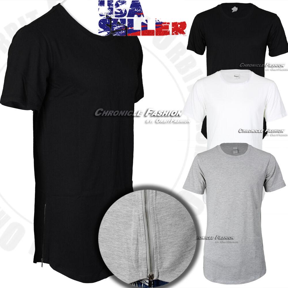 $6.64 - Mens Long T Shirt Hip Hop Zipper Crew Neck Elongated Extended Tee Casual Fashion