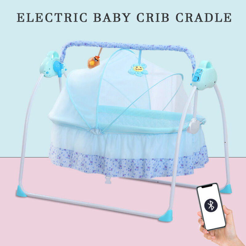 Auto-Swing Crib Bassinet Baby bed Electric Baby Cradle Bluetooth Remote Control