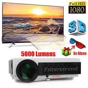 Support FULL HD 1080p 5000 Lumens 3D LED Home Cinema Theater Projector HDMI USB