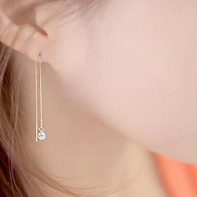 14K Solid Yellow Gold w/ Cubic Ball Threader Long Drop Dangle Pair Earrings TPD