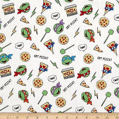 Teenage Mutant Ninja Turtles Retro Got Pizza 100% Cotton fabric by the yard
