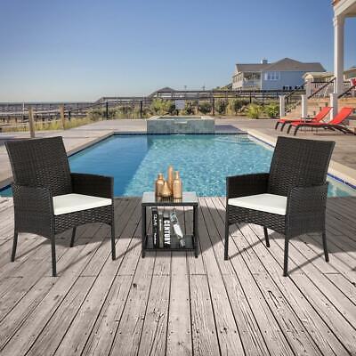 Garden Furniture - Rattan Wicker Furniture Set 3PC Cushioned Outdoor Garden Seat Patio Sofa Chair