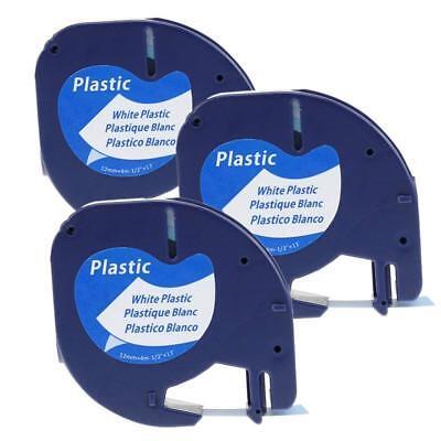 3pk Compatible Dymo Letratag 91331 Label Maker Tape White Cassate 12mm Refil