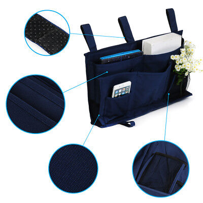 Bett-tasche (6 Taschen Nachttisch Storage Bett Organizer Multi Aufbewahrungs Tasche Blau CXH)