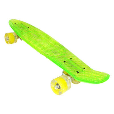 Penny Style Board Cruiser Transparent Skateboard Light Up Wheels - Clear Green