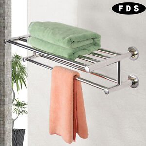 Double Towel Rail Holder Wall Mounted Bathroom Rack Shelf Stainless Steel FDS