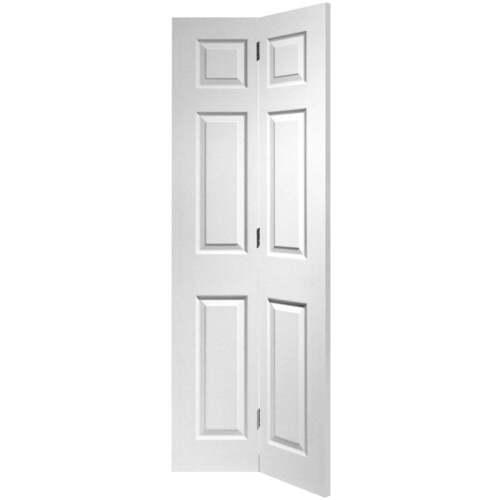 Internal bi fold door white primed colonist moulded 6 for 6 panel interior wood doors