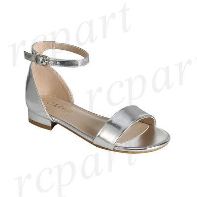 New women's shoes open toe buckle closure low heel fashion wedding Silver ()