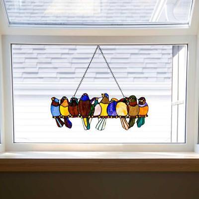 River of Goods Bird Suncatcher: Stained Glass Birds on a Wire Hanging Sun Window