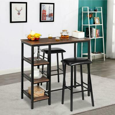 Pub Bar Wood Table Dining Kitchen With 2 Stools Furniture Counter Height Table