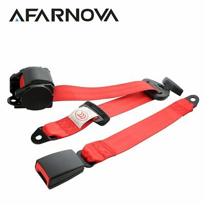 1Set Automatic Retractable 3 Point Harness Car Safety Seat Belt Red Universal