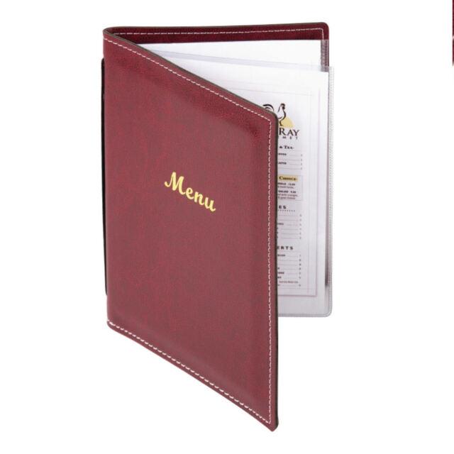 Burgundy A5 Menu Cover Leatherette   Four Pages Restaurant Food Wine List Holder