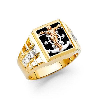 14k Yellow 3 Tone Gold CZ Onyx Religious Crucifix Jesus Anchor Fashion Ring Band
