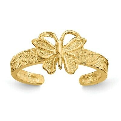 14k Yellow Gold Solid Butterfly Adjustable Toe Ring  1.31 (14k Butterfly Toe Ring)