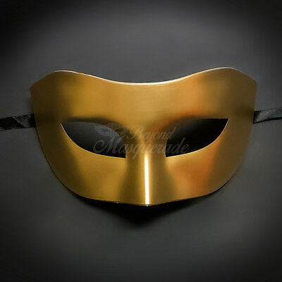 Gold Simple & Elegant Masquerade For Men Mask Costume Prom Party Mask](Simple Masquerade Masks)