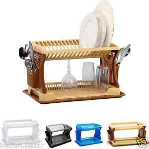 New Kitchen 2 Layes Plastic Dish Plate Drainer Rack