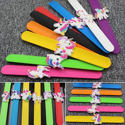 Silicone Unicorn Slap Bracelets Mythical Rainbow Kid's Birthday Party Favors Toy (Unicorn Bracelet)