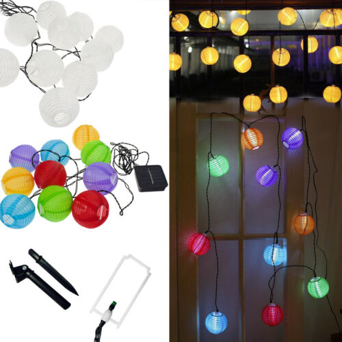 solar led lampionkette lichterkette led wei bunt lampions innen au en de neu ebay. Black Bedroom Furniture Sets. Home Design Ideas
