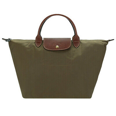 New LONGCHAMP Olive Green Nylon le Pliage Medium Top Handle Tote