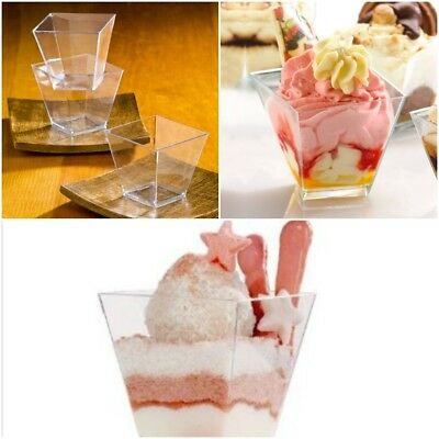 Mini Disposable Dessert Cups 20 Pcs Plastic Clear Dishes Party Bowls Plates