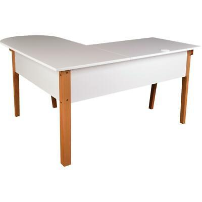 Lorell Mid-century Modern Office Desk - White Rectangle Top - Natural Base -...