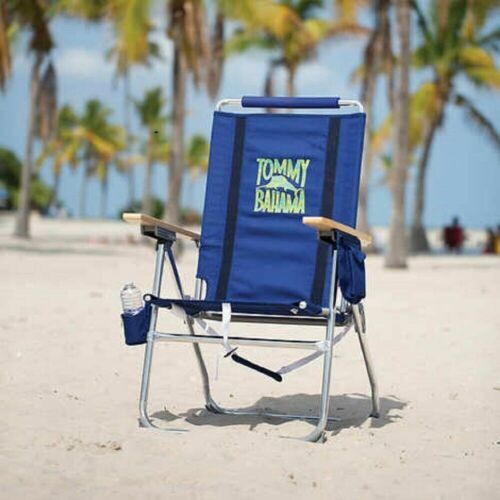 Tommy Bahama Hi-boy Beach Chair Dark Blue Aluminum Adjusts to 7 Positions